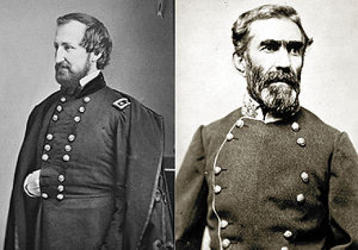 General William Rosecrans (left), General Braxton Bragg (right)