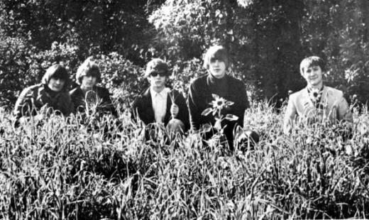 The original Byrds: (left-to-right) Gene Clark, Jim (later Roger) McGuinn, Chris Hillman, Michael Clarke, David Crosby