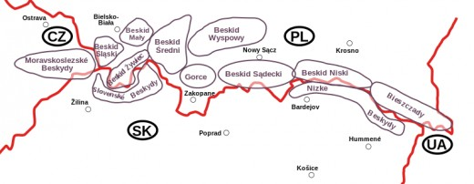 A sketch of the Western Carpathians. The Jablunkov pass separates the Moravian-Silesian Beskids (Moravskoslezské Beskydy) and the Silesian Beskids (Slovenské Beskydy).