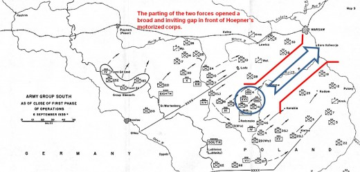 The parting of the two Polish armies opened a broad and inviting gap in front of Hoepner's motorized corps.