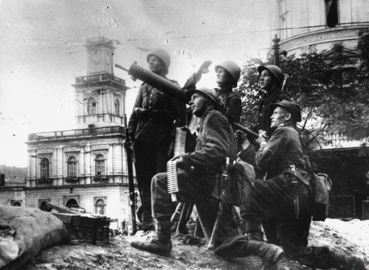 Polish soldiers man an antiaircraft machine gun during the Siege of Warsaw. More than half of the German planes shot down during the campaign were claimed by the A/A artillery.