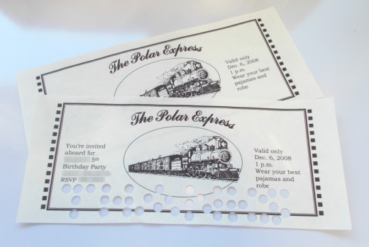 Tickets to the Polar Express make great invitations and thank you notes.