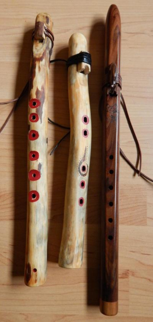 First two of these flutes are handmade by me. The third flute, on the right, is a creation by Jack Ferguson.