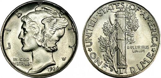 1936-D Mercury dime.
