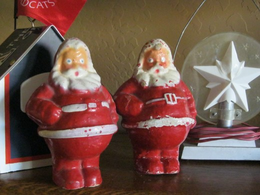 Two old paper mache Santas found at Rose Bowl Flea Market.  Very unusual.