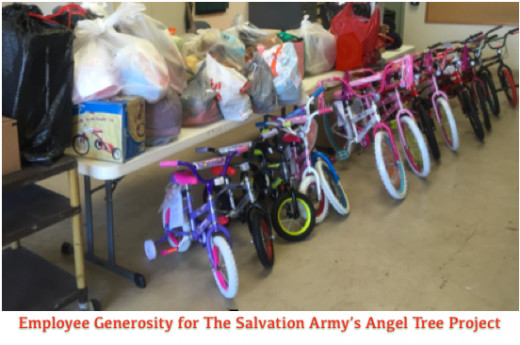 The Salvation Army Angel Tree program provides holiday cheer to needy children through the generosity of community members.