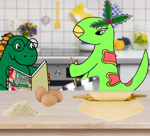 Ella Iguanodon hangs out with Jeff.  He reads while she makes gingerbread dinosaur cookies!