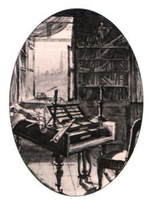 Beethoven's study in his Schwarzspanierhaus apartment.