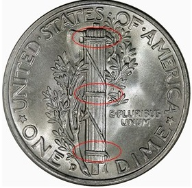 Mercury dimes that are well struck have fully formed horizontal bands on the fasces.