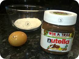 Eggs, Nutella, and flour are all you need to make the brownies :-)