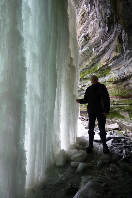 A Selfie of Myself in the Ice Cave at Buttermilk Falls