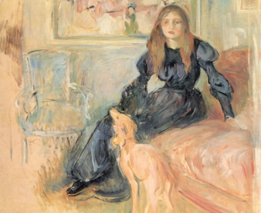 'Girl with Greyhound' (1893) by Berthe Morisot