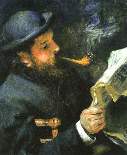 'Claude Monet Reading' by Pierre-Auguste Renoir