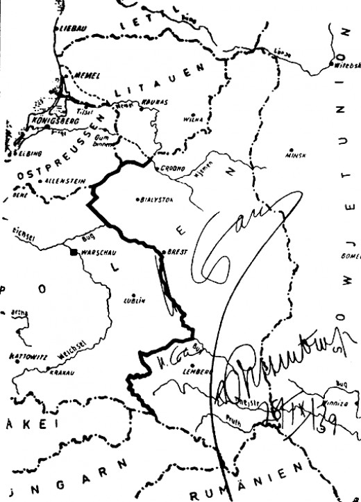 The partition of Poland. The map is signed by Joseph Stalin and Joachim von Ribbentrop. September 28, 1939.