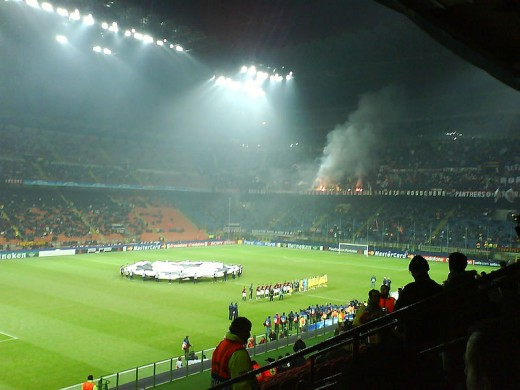 San Siro hosts a Champions League match on Dec. 6, 2006 as AC Milan plays France's Lille Metropole. The French club won 2-0 to secure progress to the Round of 16 for the first time ever.