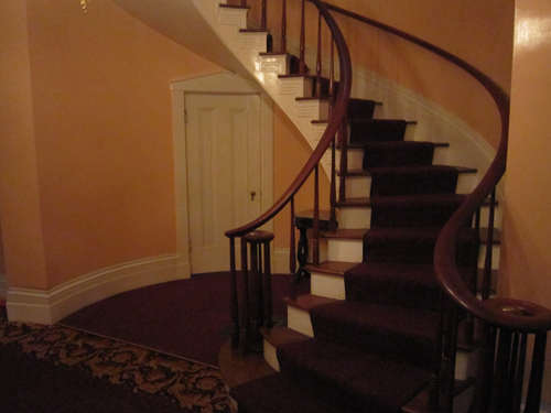 The spiral staircase in the Lanier Mansion