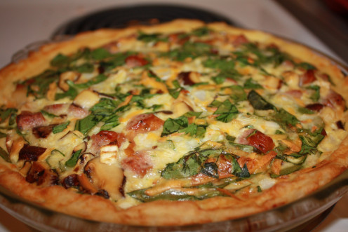Kilebasa Quiche with potato crust