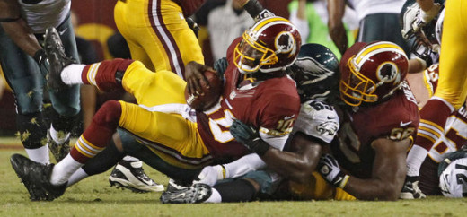 RGIII being sacked by the Philadelphia Eagles