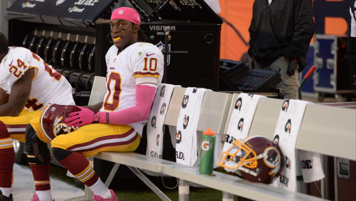 Washington Redskins QB Robert Griffin III on the bench