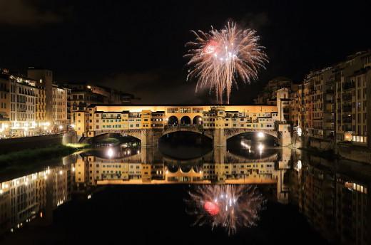 Italy Fireworks Over Ponte Vecchio