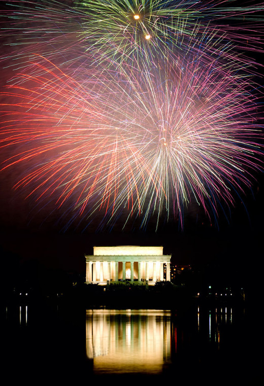 Fireworks Over the Lincoln Memorial, Washington, DC