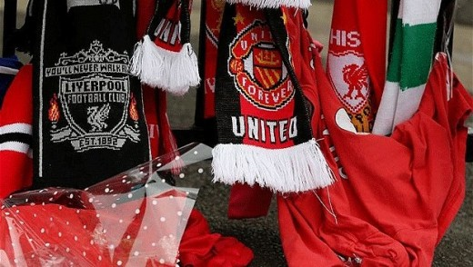 Liverpool and Manchester Utd scarves.