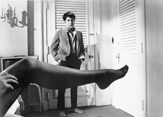 Older woman, Mrs. Robinson (Anne Bancroft) puts on her stockings after a fight with her lover, Benjamin (Dustin Hoffman.)
