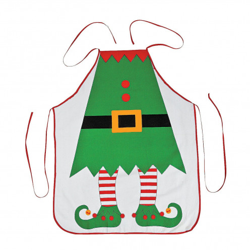 A apron covered the boy from head to toe and made him look like a little elf.