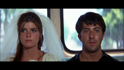 Elaine (Katharine Ross) and Benjamin sit in silence after their successful escape from the church and from the expectations of their respective families.