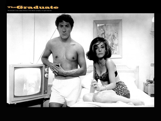 Dustin Hoffman and Anne Bancroft pose for a promo shot for the film.