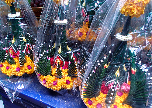 Traditional Thai flower arrangements (as temple offerings)