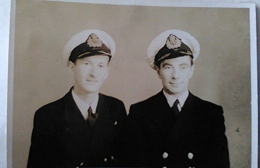 Joseph Liam Guerin (left) and John Geddes (right), Shanghai, October 1945, Wireless and Gunnery Officer and Engineering Officer, respectively, aboard Brown Ranger