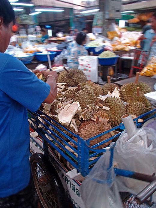 Fresh durians vendor