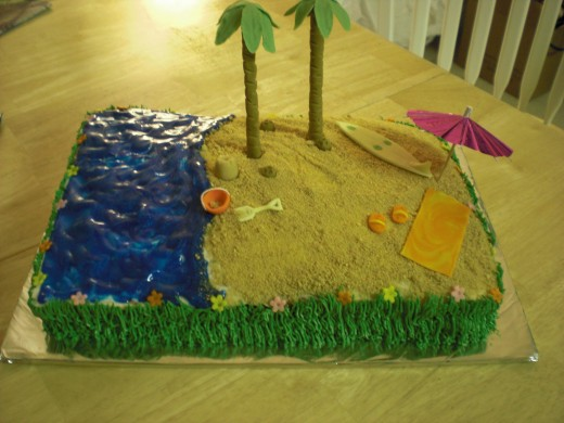 Looking at this cake makes me want to go on a vacation to the beach! :O)