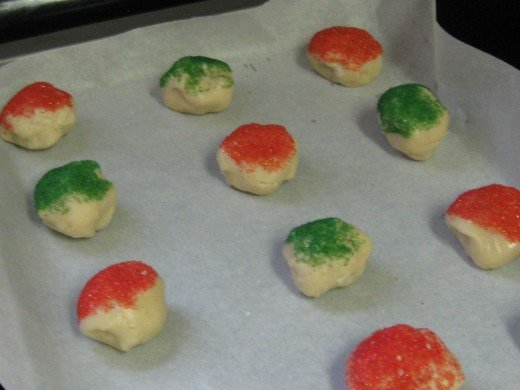 Dough on parchment paper lined cookie sheets