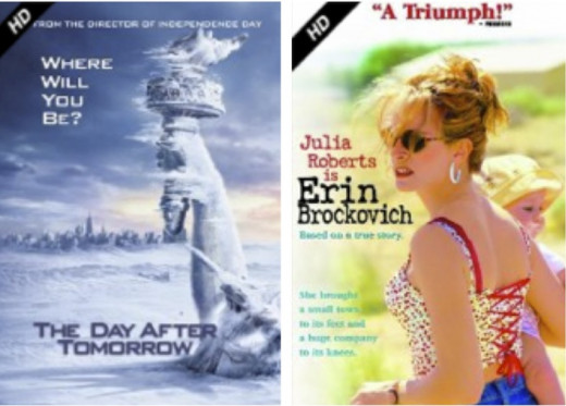 The Day After Tomorrow and Erin Brockovich DVDs to borrow, rent, or stream