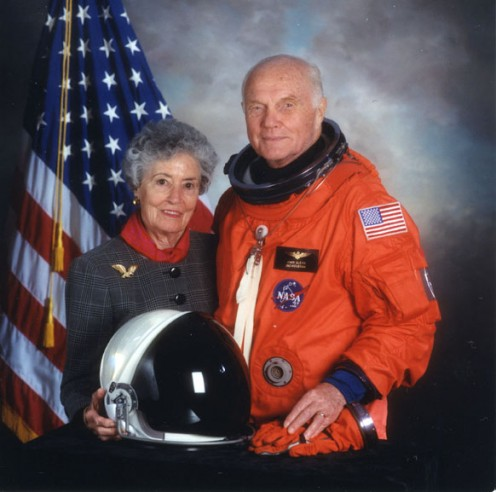 Color formal portrait of Annie Glenn and John Glenn in his spacesuit as a crew member on the Space Shuttle Discovery mission STS-95, 1998.