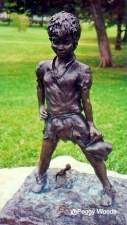 Peter Pan statue in the park memorializing Mary White who lost her life in a horse riding accident.