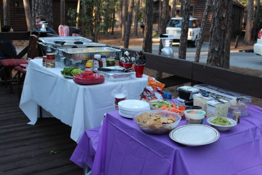 The party spread... So delicious! We turned the patio deck into a buffet. The picnic table was set up in the driveway.
