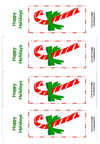 Printable Christmas Bookmarks, candy canes design