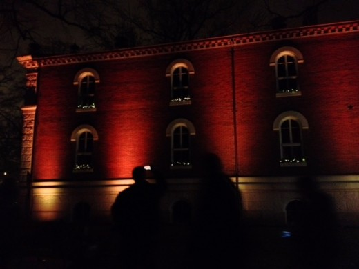 Some lights on a beautiful building!