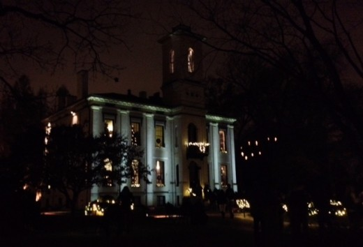 Victorian Home Lit Up at Christmas.  Henry Shaw's Old Home