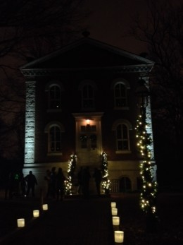 Science Building, Lit up, with luminaries along the path to it. It was so beautiful!  Much more than I could capture.