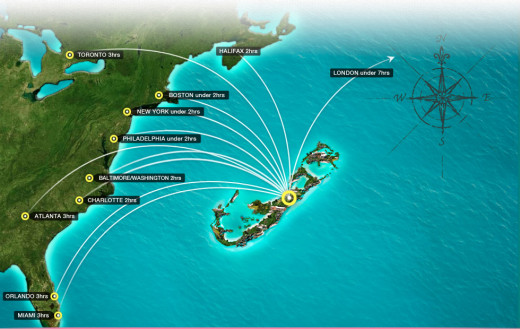 flight times for Bermuda - easy access by air