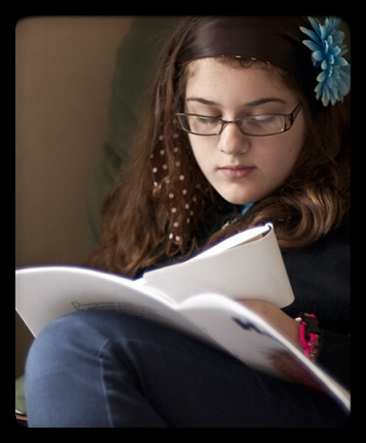 A teen's mind is involved while reading. The brain stores words and thoughts for self-referential thinking.