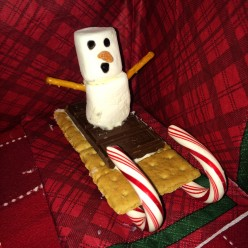 Christmas Snack:  Snowman S'more Sled