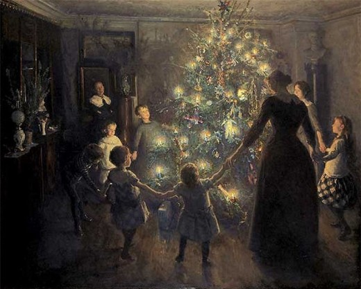 "Painting ""Glade jul"" by Viggo Johansen (1891) representing a Christmas tree and its ritual."