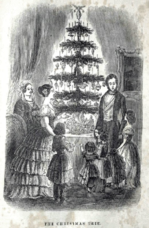 The Queen's Christmas tree at Windsor Castle published in The Illustrated London News, 1848.