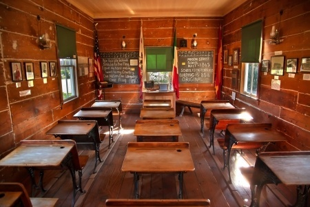 This old school house is very similar to the one I attended.  We had desks just like these.