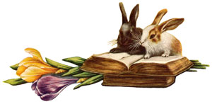 Bunny rabbits checking out books for information.